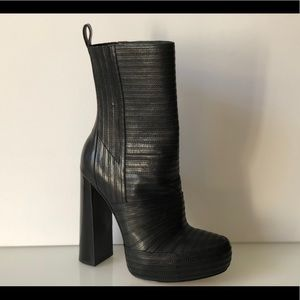 ALEXANDER WANG BLACK LEATHER MID CALF BOOTS